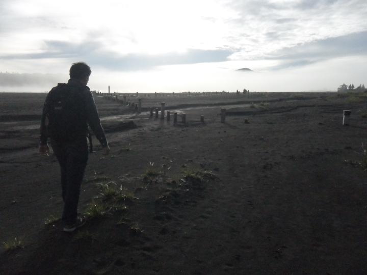 4 Victor walking to Mt. Bromo