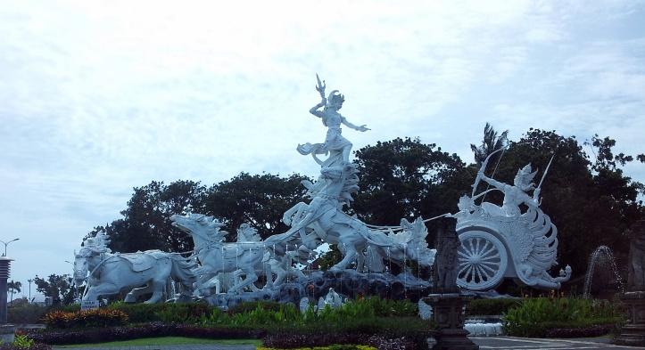Ghatodgaja attacking Karna sculpture, Bali