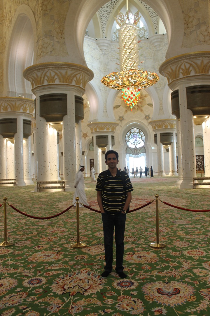 Me inside the Grand mosque in Abu Dhabi