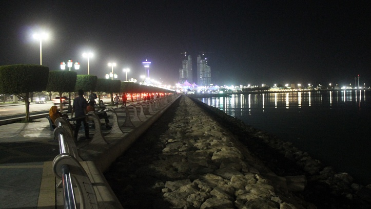 Corniche beach at night