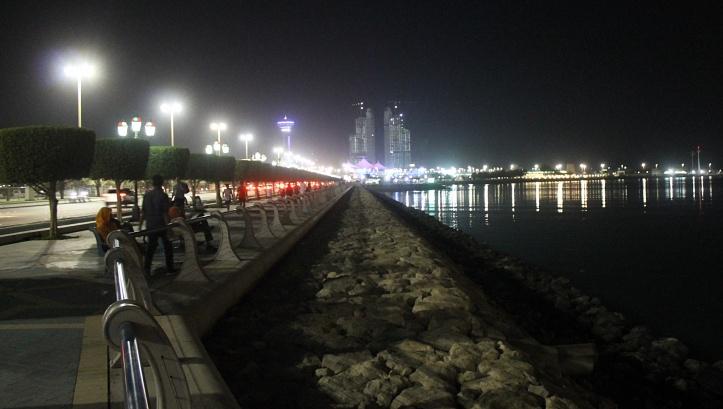 Corniche beach at night